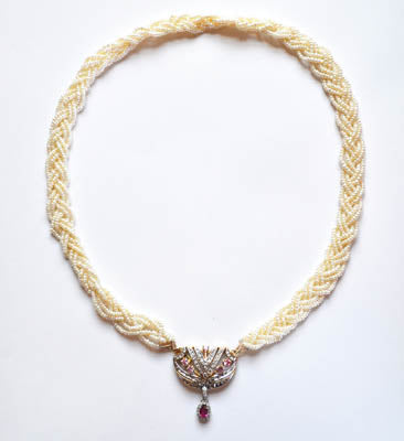 FWP 223 5 Rows of interlaced seed pearls necklace 46 cm long.