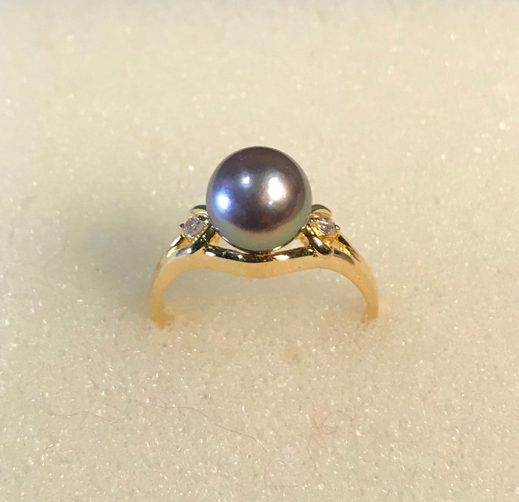 RIN 052  Gold 18k. w/freshwater pearls pearl drop/diamonds size K.
