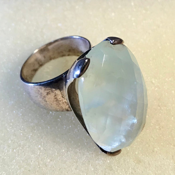 RIN 199 Silver ring with Green Aventurine stone size P.