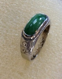 RIN 203 Jade on 18k. white gold ring size M.