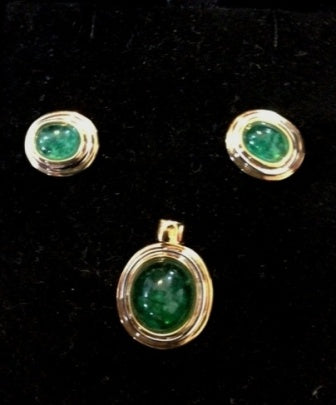 SET 123 Set of Brazilian Emeralds oval gold pendant and earrings.