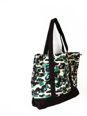 A bathing ape green camo bag