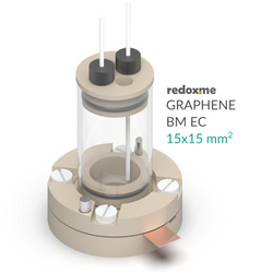 Graphene BM EC 15mm x 15mm - Graphene Bottom Mount Electrochemical Cel
