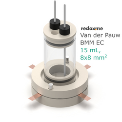 Van der Pauw BMM EC, 15 mL, 8x8 mm2- Van der Pauw Bottom Magnetic Mount Electrochemical Cell