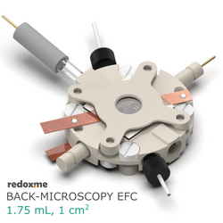 Back-microscopy EFC, 1.75 mL, 1 cm2 - Back-microscopy Electrochemical Flow Cell, volume: 1.75 mL, active area: 1 cm2