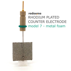 Rhodium plated counter electrode model 7 – metal foam