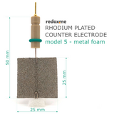 Rhodium plated counter electrode model 5 – metal foam