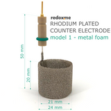 Rhodium plated counter electrode, model 1 – metal foam