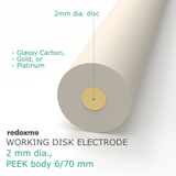 Working Disk Electrode - 2 mm dia., PEEK body 6/70 mm