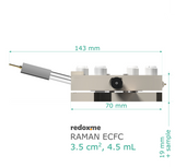 MM Raman ECFC 3.5 cm2, 4.5 mL – Magnetic Mount Raman Electrochemical Flow Cell, active area: 3.5 cm2, volume: 4.5 mL