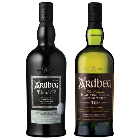 Ardbeg Blaaack and 10yo Pair Islay Single Malt Scotch Whisky