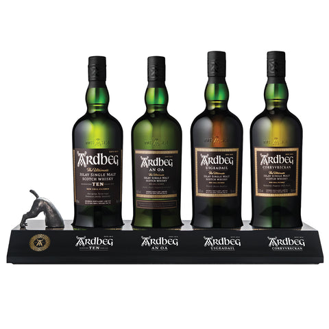 Ardbeg Range with Plinth Islay Scotch Single Malt Whisky