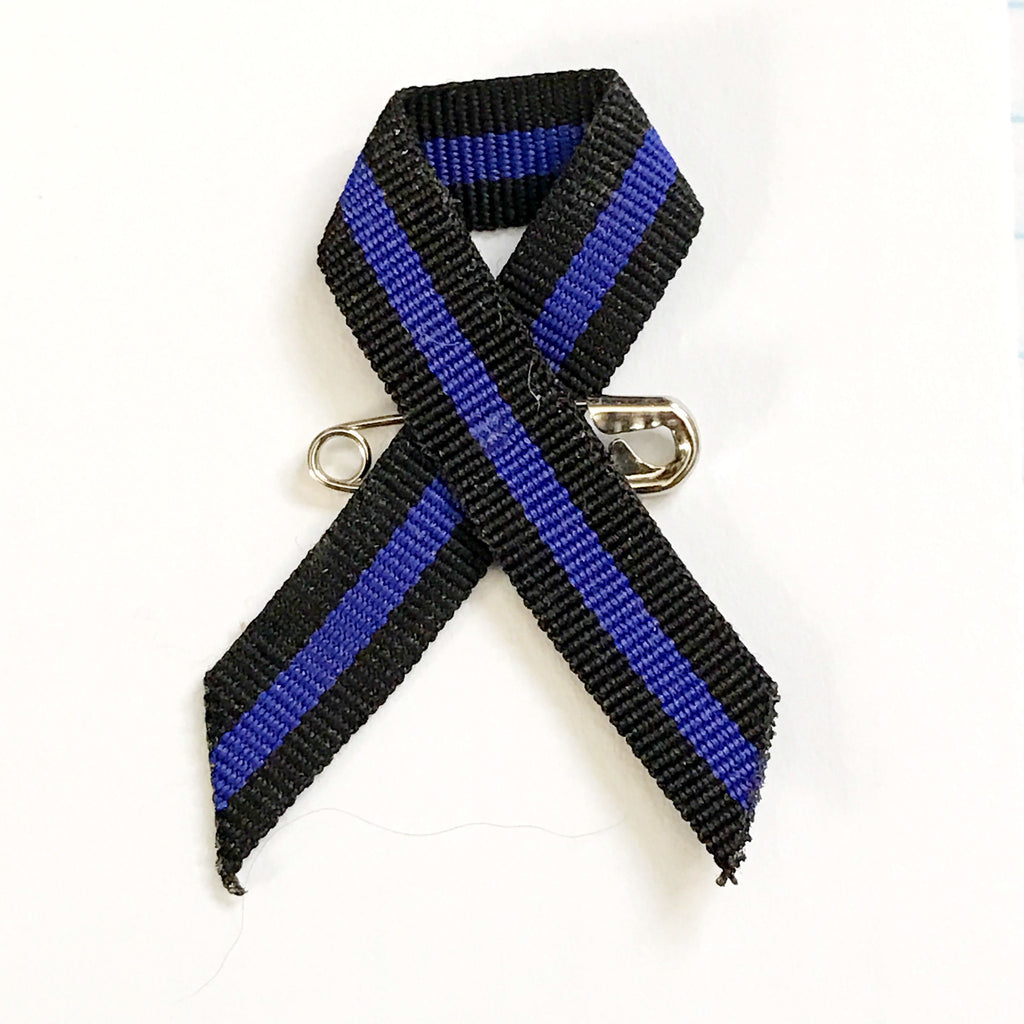 Thin Blue Line Lapel Ribbons with Safety Pin 25 Pieces