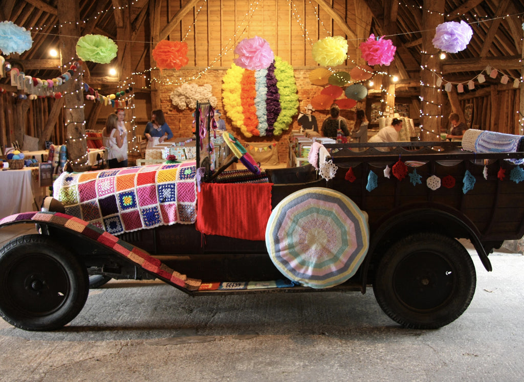 The Creation of Hilly Billy The Vintage Citroen - Yarn Bombing at Emma's Fabric Studio Open Day July 2014