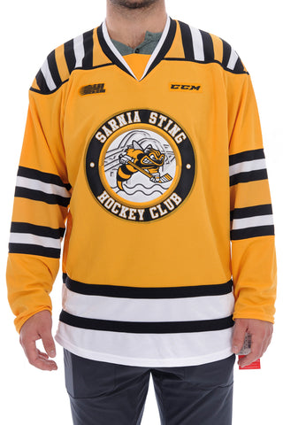Adult Sarnia Sting Yellow Jersey by CCM. 411-415