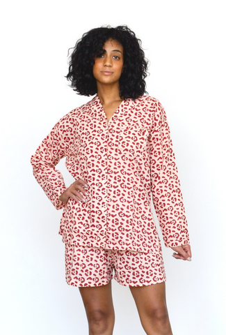 Geo Starburst PJ Set in Navy + Cream