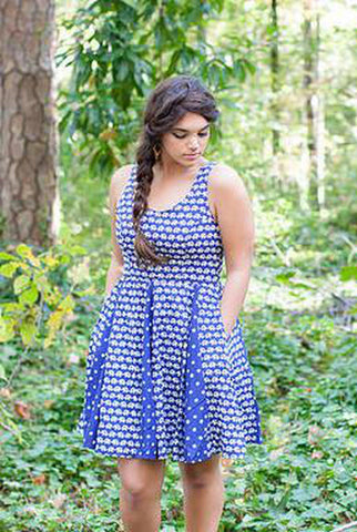 Printed Pineapple Maxi Slip Dress in White and Indigo