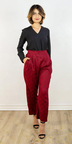 Silk Trousers in Black and Grey Sketched Plaid