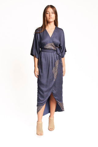 Breezy Feather Kimono Maxi Wrap in Black & Gold