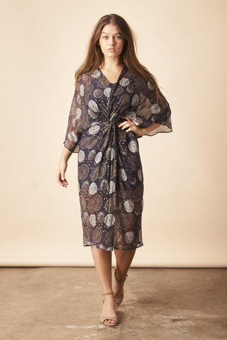 Geo Diamond Midi Caftan in Cobalt Blue + Silver