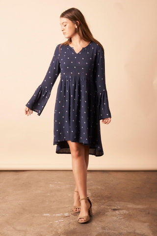 Dancing Umbrellas Twisted Kimono Dress in Navy + Metallic
