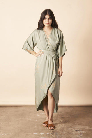 Ginkgo Leaf Midi Wrap Dress in Emerald + Gold