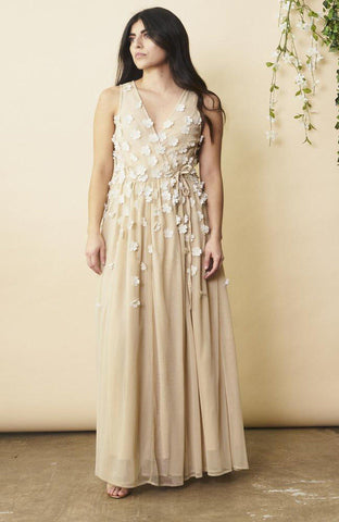 Peacock Feather Maxi Wrap Dress in Cream and Gold