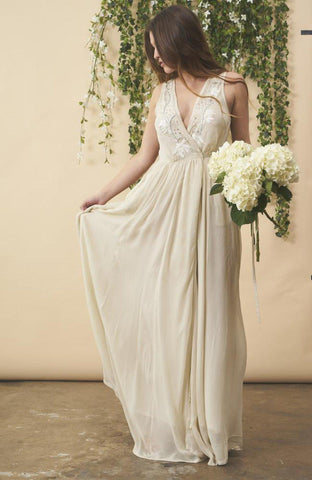 Floral Embroidered Wedding Dress in Cream + Silver