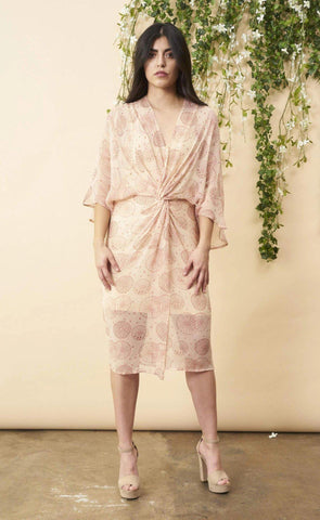 Dancing Umbrellas Twisted Midi Dress in Blush and Rose