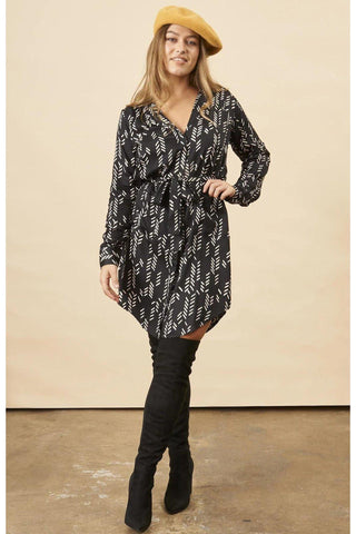 Stylized Feather Wrap Dress in Black + Cream