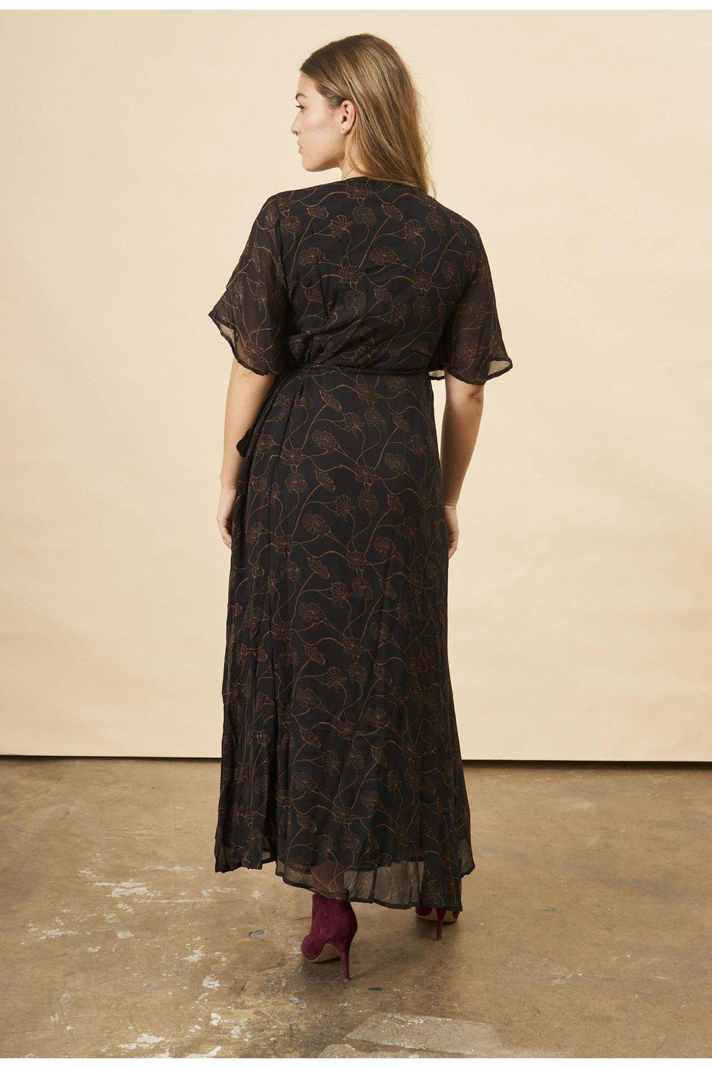 Poppy Flower Butterfly Sleeve Maxi Dress in Black + Copper