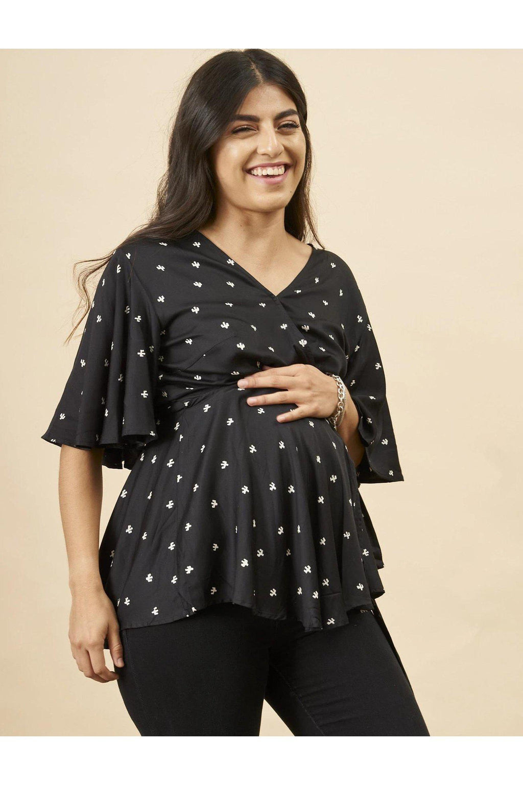 Baby Cacti Peplum Blouse in Black + White
