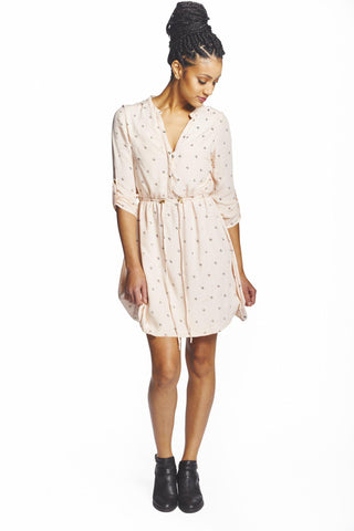 Chiffon Hibiscus Flower Shirt Dress in Black + Gold