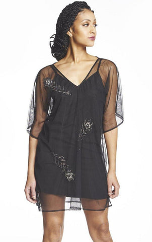 Geo Diamond Deep V Caftan in Black + Gold