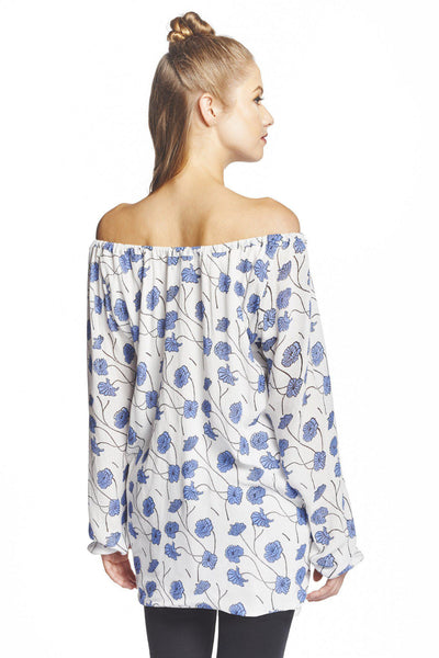 Poppy Flower Off-The-Shoulder Blouse