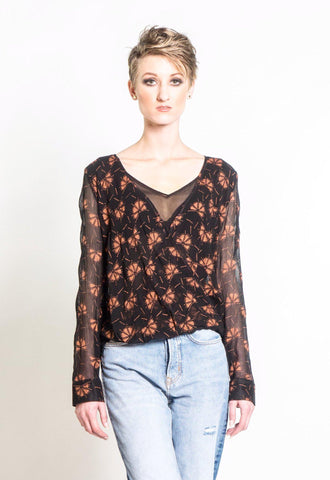 Dancing Fans Blouse in Black & Copper
