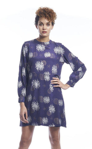 Hibiscus Flower Empress Midaxi Wrap in Navy + Gold
