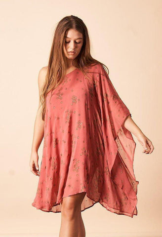 Ginkgo Leaf Maxi Button Down Dress in Magenta + Gold