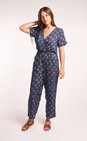 Baby Cacti Wrap Jumpsuit in Black & Ivory