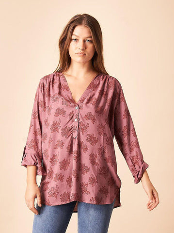 Dancing Fans Button Down Blouse in Berry & Copper