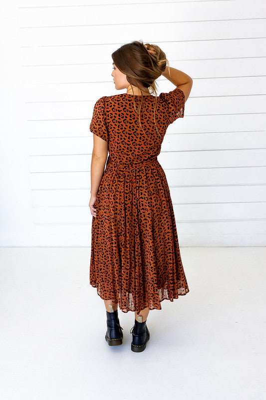 Leopard Midi Wrap Dress in Sierra + Black