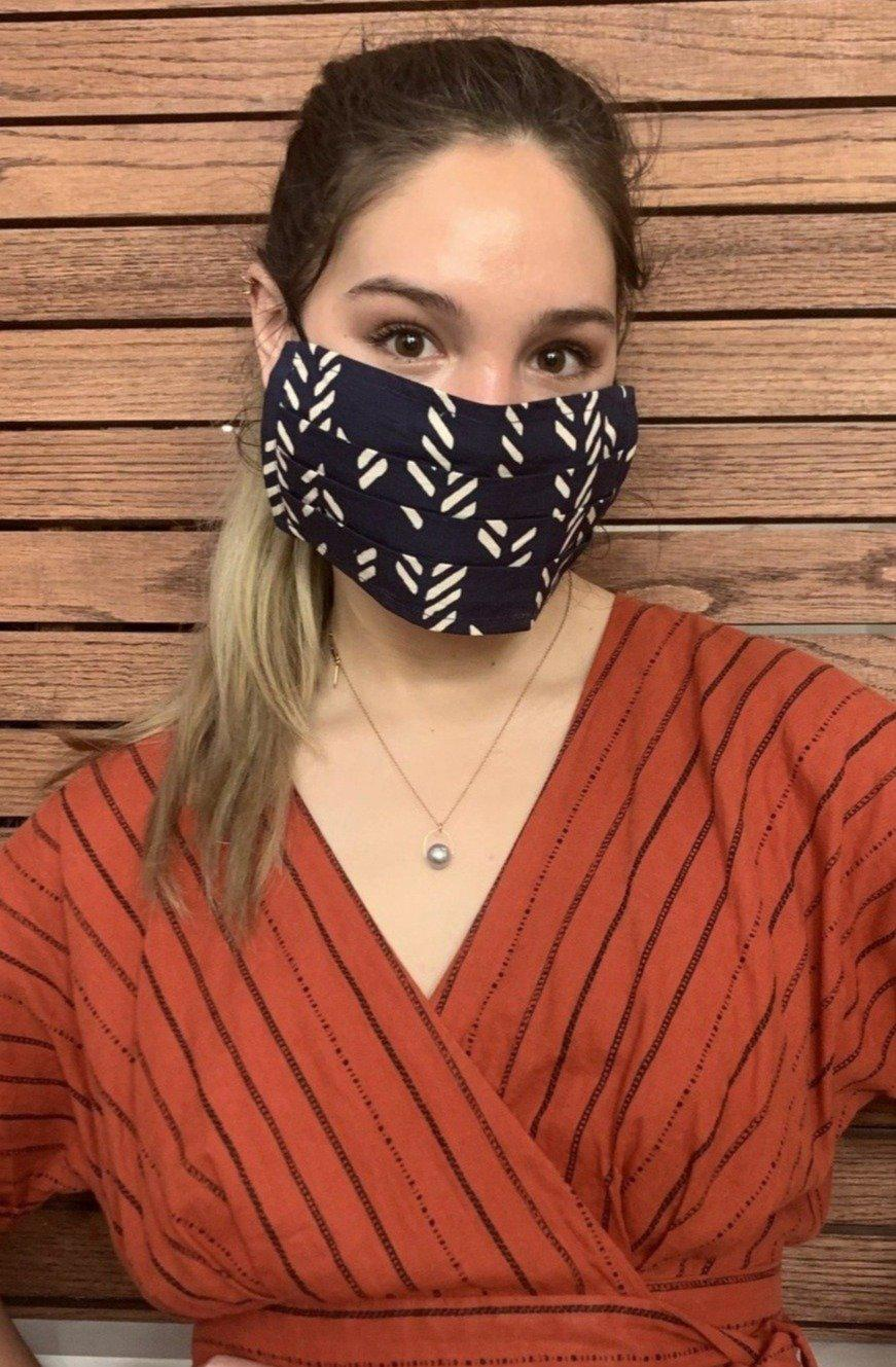 Stylized Feather Face Mask in Navy + Cream