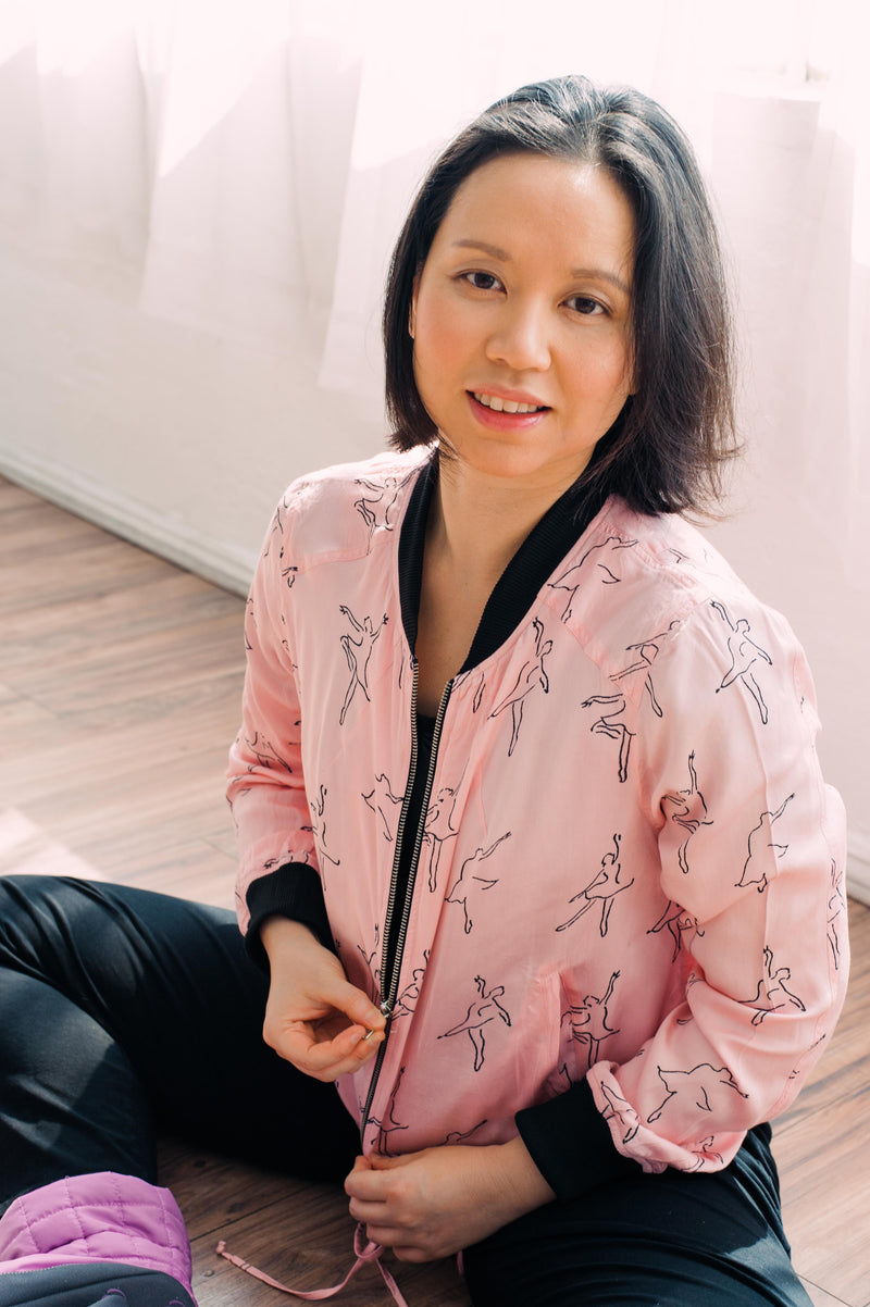 Dancing Ballerina Bomber in Pink + Black