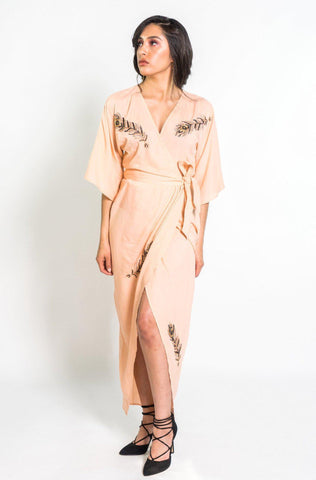 Ginkgo Leaf Maxi Wrap in Cream + Copper