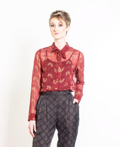 Wrap Blouse in Black & Copper Dancing Fans