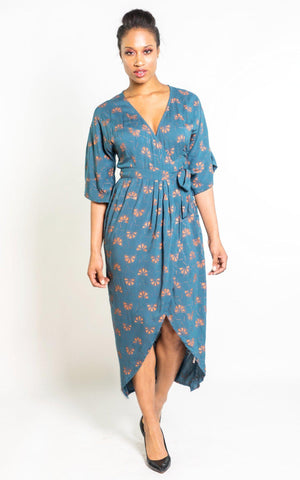 Velvet Embroidered Kimono Wrap Dress in Midnight Blue