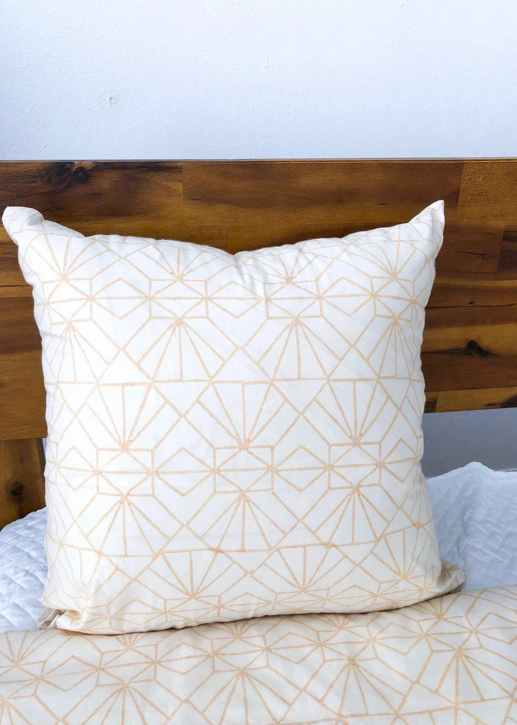Art Deco/Baby Cacti Reversible Pillowcase in Cream + Tan