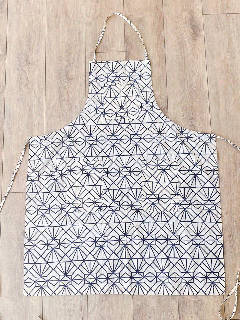 Stylized Feather/Art Deco Reversible Apron in Navy & Cream