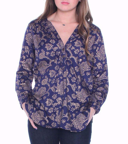 Hibiscus Flower Button Down Blouse in Black + Cream