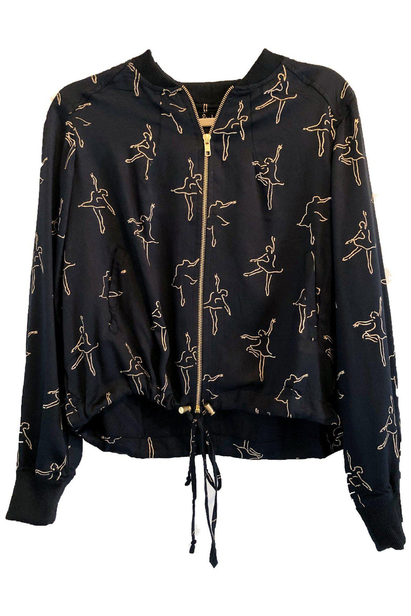 Ballerina Print Bomber in Black & Gold